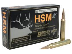 HSM Trophy Gold Ammunition 7mm STW 168 Grain Berger Hunting VLD Hollow Point Boat Tail Box of 20