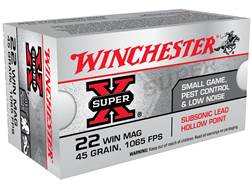 Winchester Super-X Ammunition 22 Winchester Magnum Rimfire (WMR) Subsonic 45 Grain Jacketed Hollo...