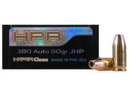 HPR HyperClean Ammunition 380 ACP 90 Grain Hornady XTP Jacketed Hollow Point Box of 50