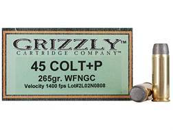 Grizzly Ammunition 45 Colt (Long Colt) +P 265 Grain Cast Performance Lead Wide Flat Nose Gas Chec...