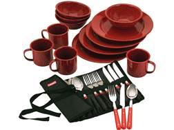 Coleman 24-Piece Dinnerware Set Red