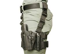 BLACKHAWK! Serpa Level 2 Tactical Thigh Holster Left Hand Glock 17, 19, 22, 23, 31, 32 Polymer Black