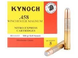 Kynoch Ammunition 458 Winchester Magnum 500 Grain Woodleigh Weldcore Soft Point Box of 5