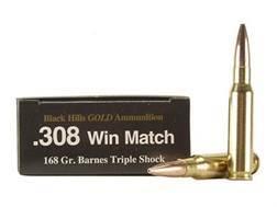 Black Hills Gold Ammunition 308 Winchester 168 Grain Barnes Triple-Shock X Bullet Hollow Point Bo...