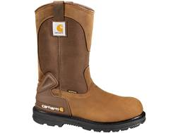 "Carhartt 11"" Wellington Waterproof Safety Toe Work Boots Leather Bison Brown Men's"