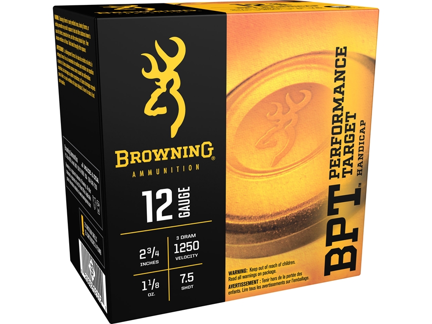 "Browning BPT Handicap Target Ammunition 12 Gauge 2-3/4"" 1-1/8 oz #7-1/2 Shot Box of 25"