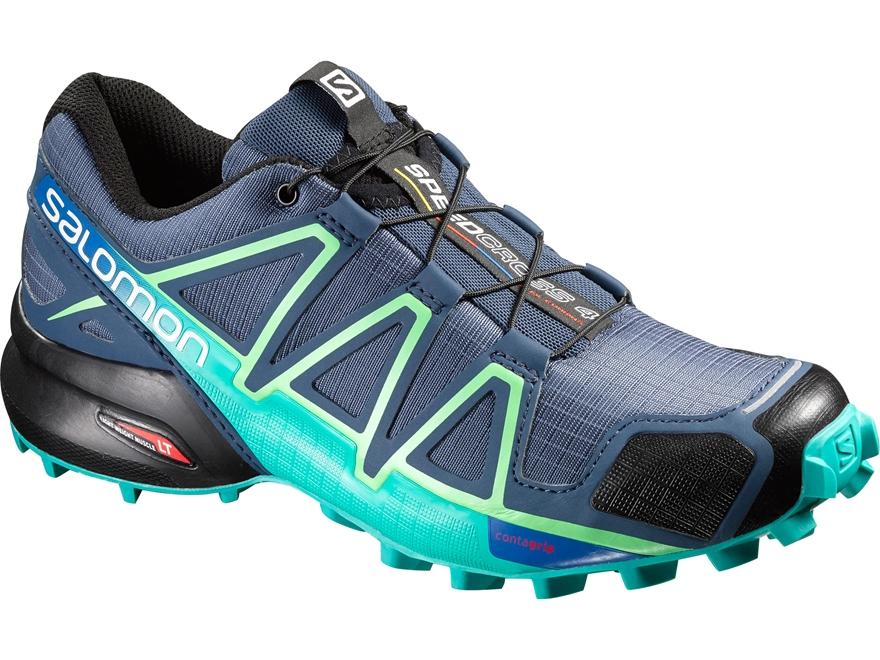 "Salomon Speedcross 4 4"" Trail Running Shoes Synthetic Slateblue/Spa Blue/Fresh Green Wo..."