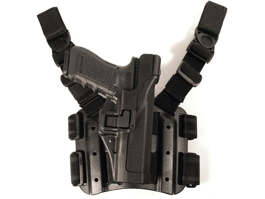 BLACKHAWK! Tactical Serpa Level 3 Thigh Holster Right Hand S&W M&P 45 ACP with Thumb Sa...