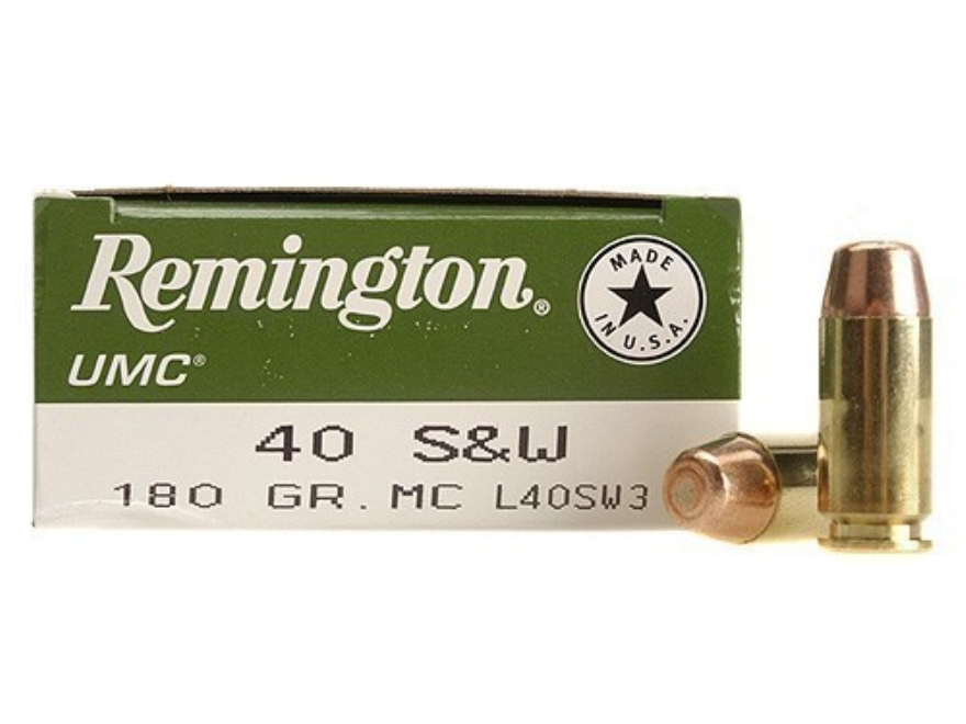 Remington UMC Ammunition 40 S&W 180 Grain Full Metal Jacket