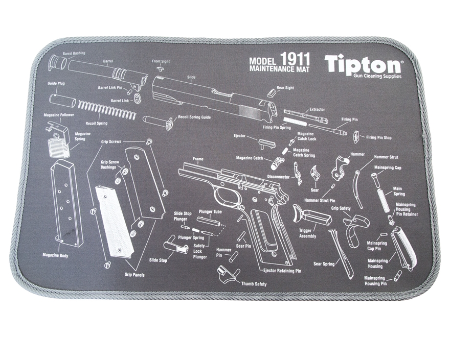 "Tipton 1911 Gun Cleaning and Maintenance Mat 11"" x 17"" Gray"
