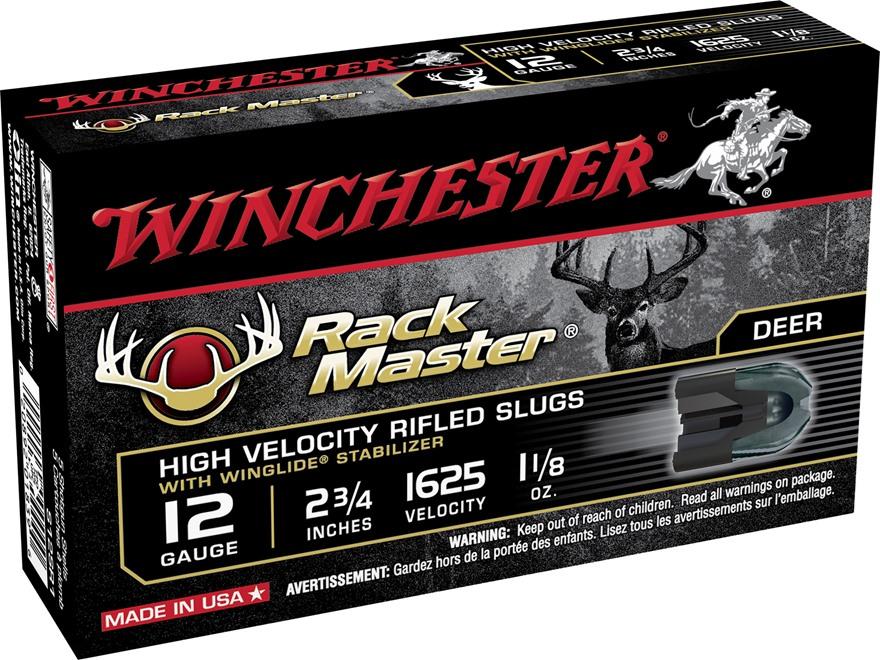 """Winchester Ammunition 12 Gauge 2-3/4"""" 1-1/8 oz RackMaster Rifled Slug Box of 5"""