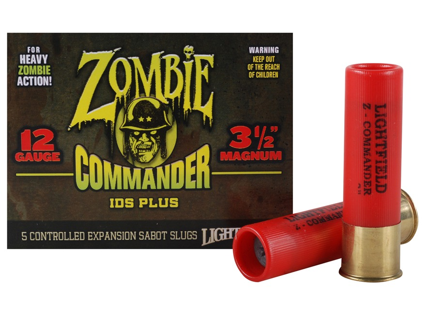 "Lightfield Zombie Commander Ammunition 12 Gauge 3-1/2"" 1-3/8 oz Sabot Slug Box of 5"