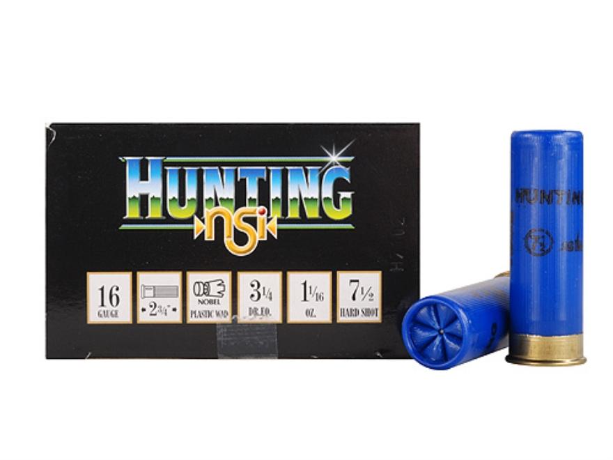 """NobelSport Hunting Ammunition 16 Gauge 2-3/4"""" 1-1/16 oz #7-1/2 Shot Box of 25"""