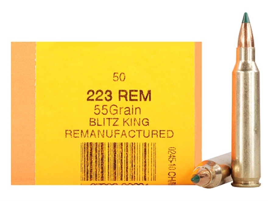 HSM Remanufactured Ammunition 223 Remington 55 Grain Sierra BlitzKing Polymer Tip Boat ...