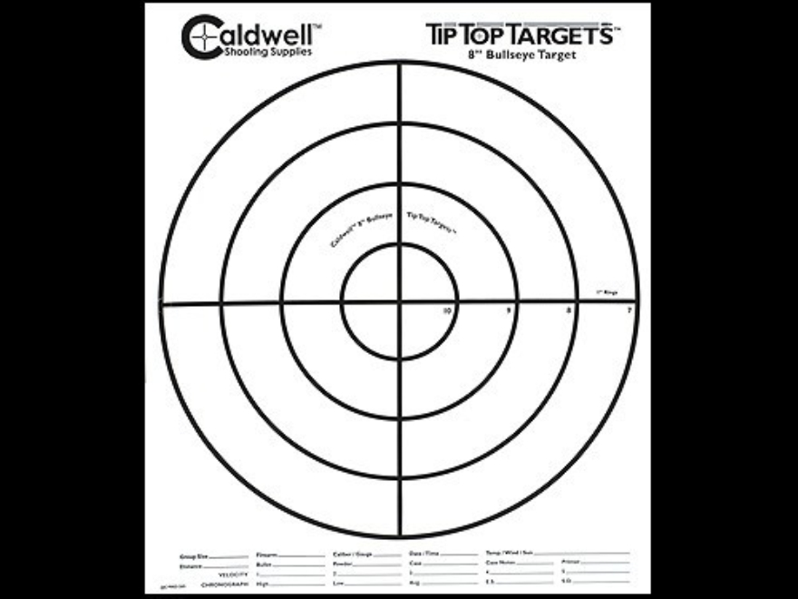 "Caldwell Tip Top Target 8"" Bullseye Package of 10"