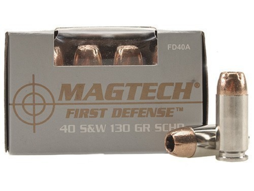Magtech First Defense Ammunition 40 S&W 130 Grain Solid Copper Hollow Point Lead-Free B...