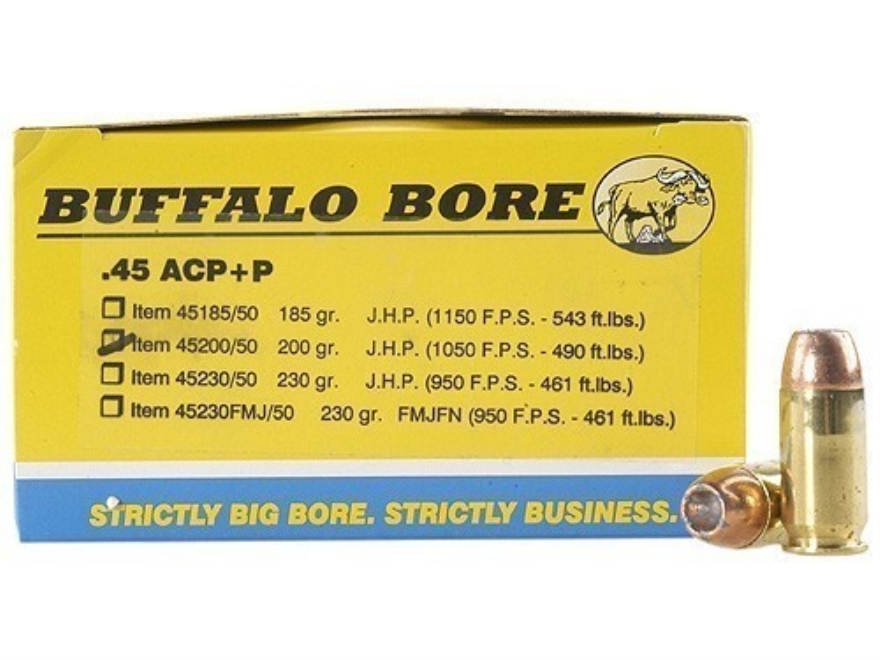 Buffalo Bore Ammunition 45 ACP +P 200 Grain Jacketed Hollow Point Box of 20