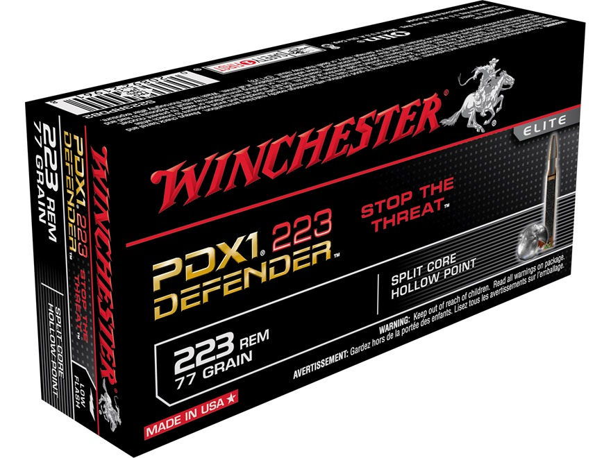 Winchester PDX1 Defender Ammunition 223 Remington 77 Grain Bonded Jacketed Hollow Point