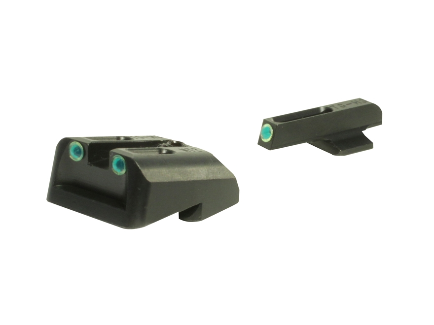 TRUGLO TFO Sight Set 1911 Government 45 ACP Novak Cut Steel Tritium / Fiber Optic Green