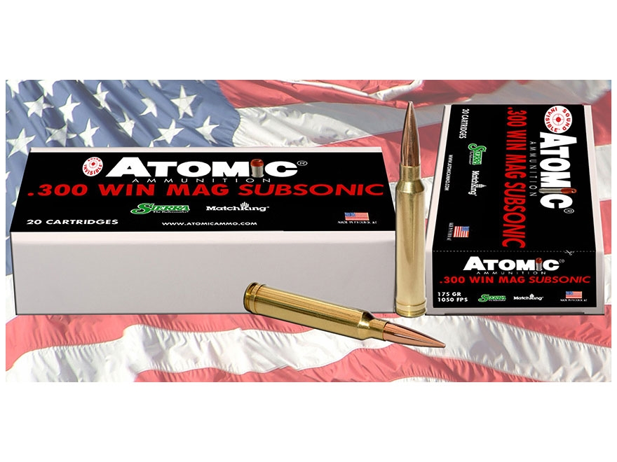 Atomic Ammunition 300 Winchester Magnum Subsonic 175 Grain Sierra Match King Box of 20
