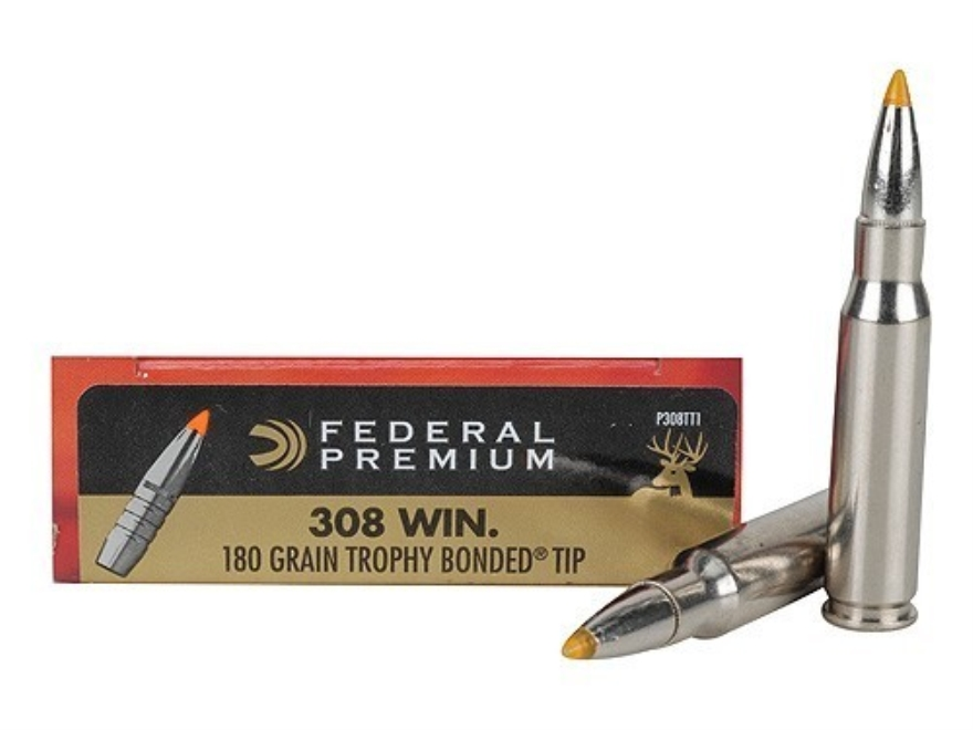 Federal Premium Vital-Shok Ammunition 308 Winchester 180 Grain Trophy Bonded Tip Box of 20