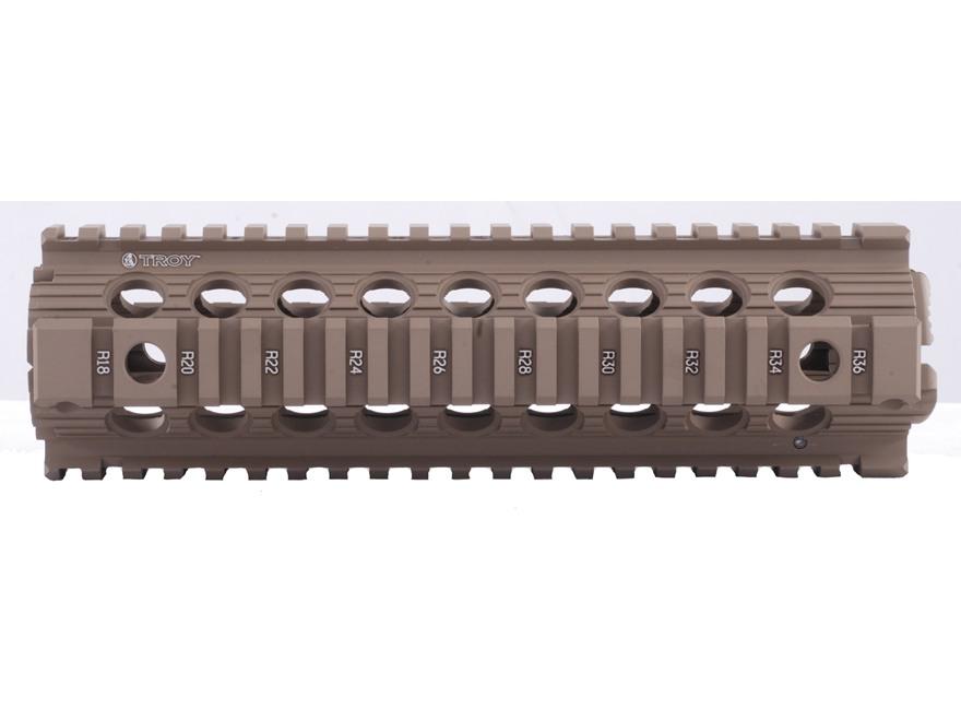 "Troy Industries 9"" MRF Drop-In Battle Rail 2-Piece Quad Rail Handguard AR-15 Mid Length"