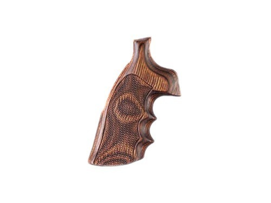 Hogue Fancy Hardwood Grips with Finger Grooves S&W K, L-Frame Round Butt Checkered