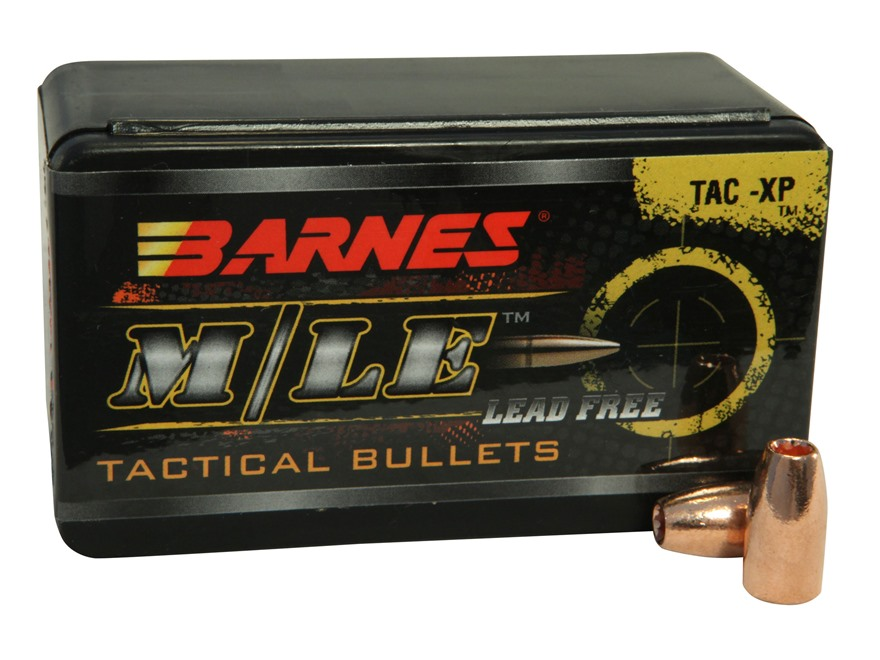 Barnes TAC-XP Bullets 9mm Luger (355 Diameter) 115 Grain Hollow Point Lead-Free Box of 40