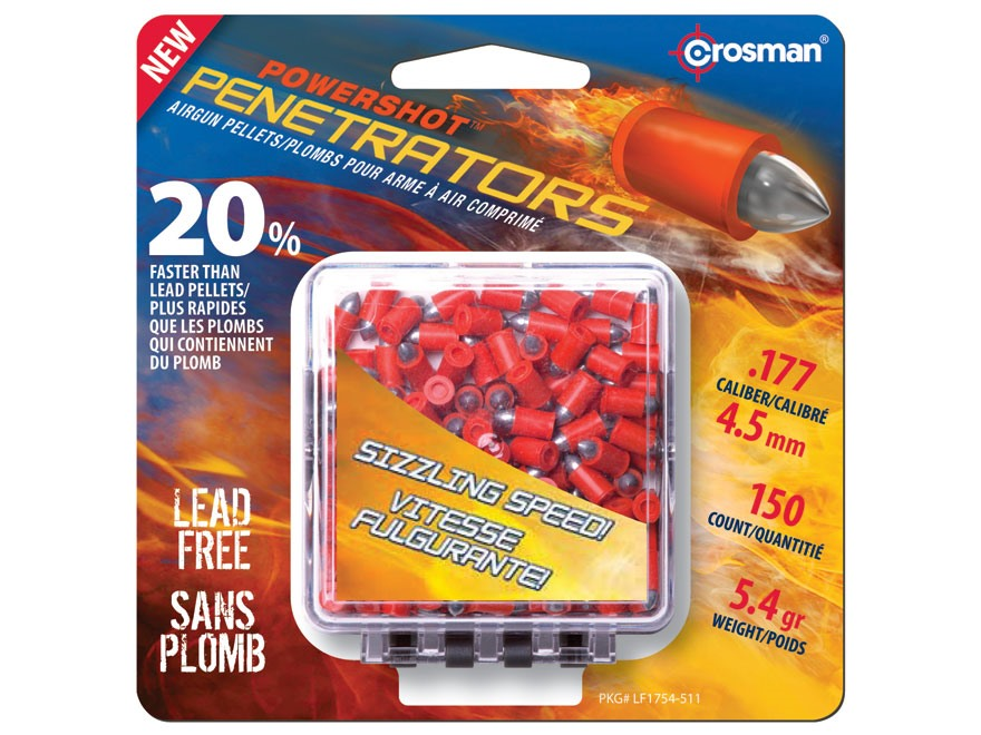 Crosman Fast Flight Penetrators Airgun Pellets 177 Caliber 5.4 Grain Polymer Wrapped Pa...