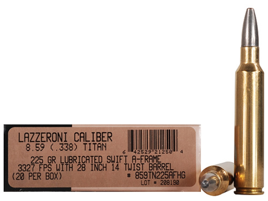 Lazzeroni Ammunition 8.59 Titan 225 Grain Swift A-Frame Semi-Sptizer Box of 20
