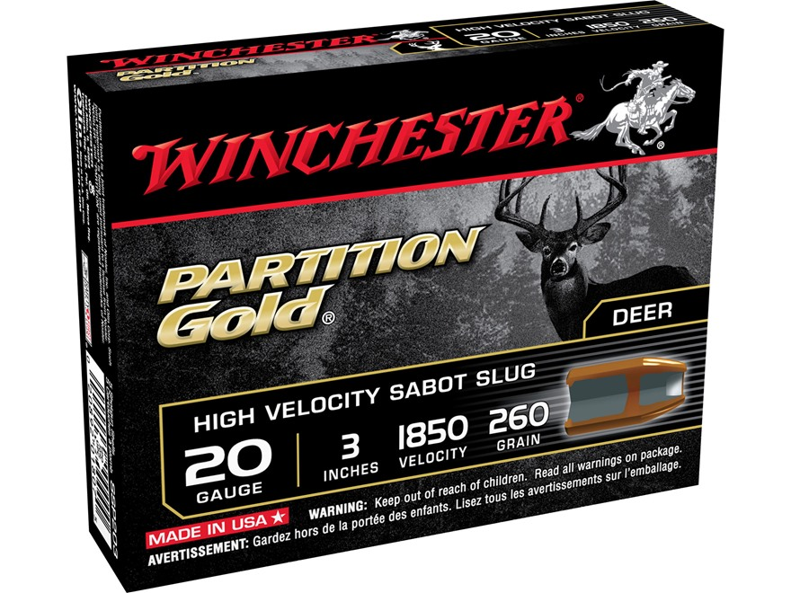"Winchester Supreme Ammunition 20 Gauge 3"" 260 Grain Partition Gold Sabot Slug"