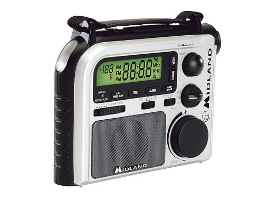 Midland ER102 Emergency Crank Radio with NOAA Weather White and Black