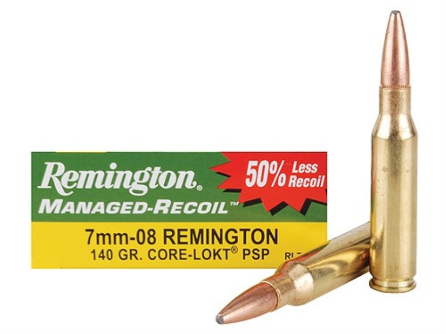 Remington Managed-Recoil Ammunition 7mm-08 Remington 140 Grain Core-Lokt Pointed Soft P...
