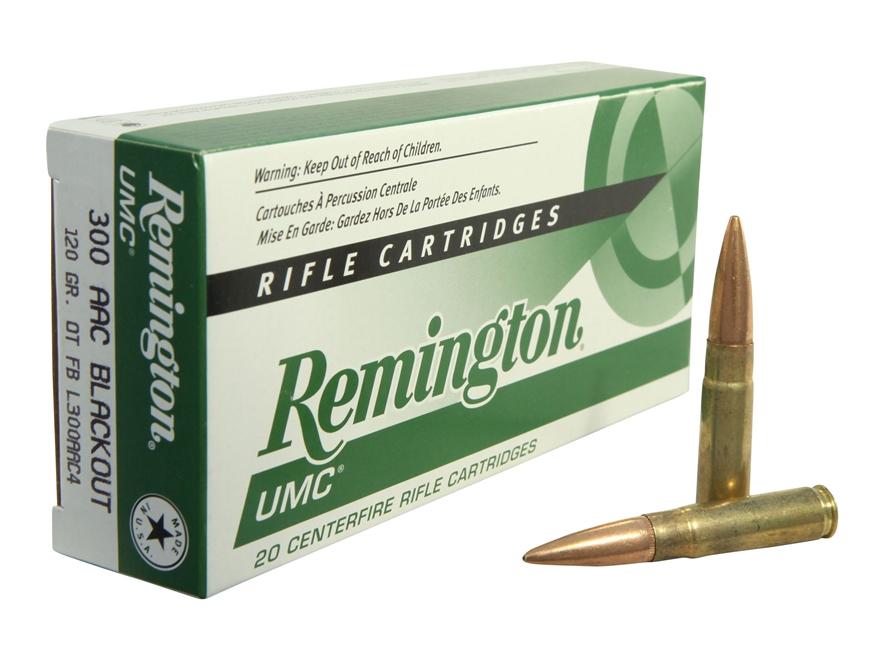 Remington UMC Ammunition 300 AAC Blackout 120 Grain Open Tip Flat Base Box of 20