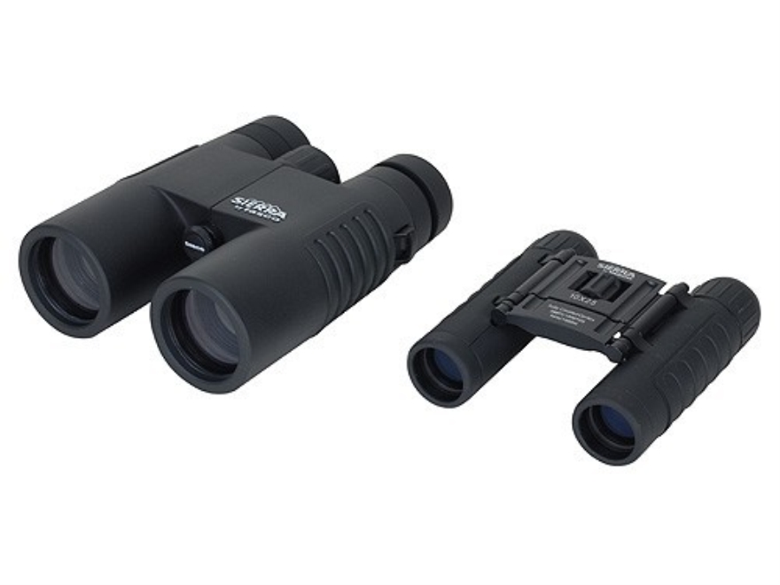 Tasco Sierra Binocular Combo Pack 10x 42mm and Compact 10x 25mm Roof Prism Black