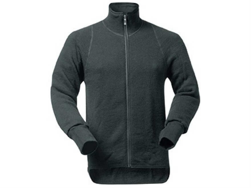Wool Power Men's Full Zip Long Underwear Shirt Long Sleeve 600 Gram Insulated Wool Blac...