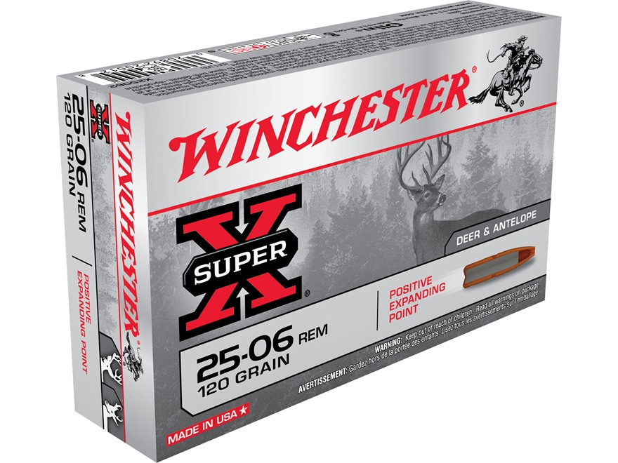Winchester Super-X Ammunition 25-06 Remington 120 Grain Positive Expanding Point