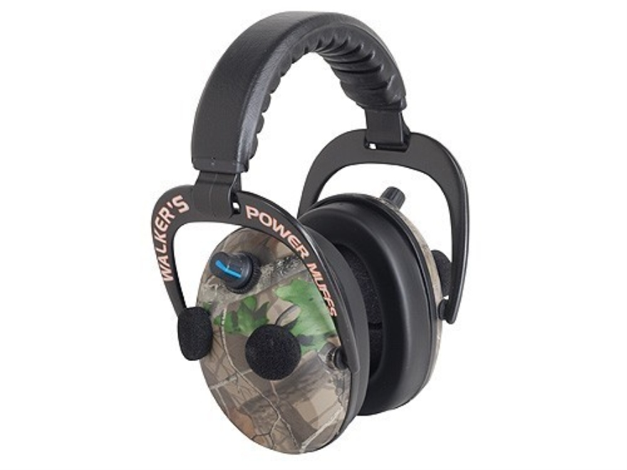 Walker's Elite Power Muffs QUADS Electronic Earmuffs (NRR 24 dB) Realtree Hardwoods Green
