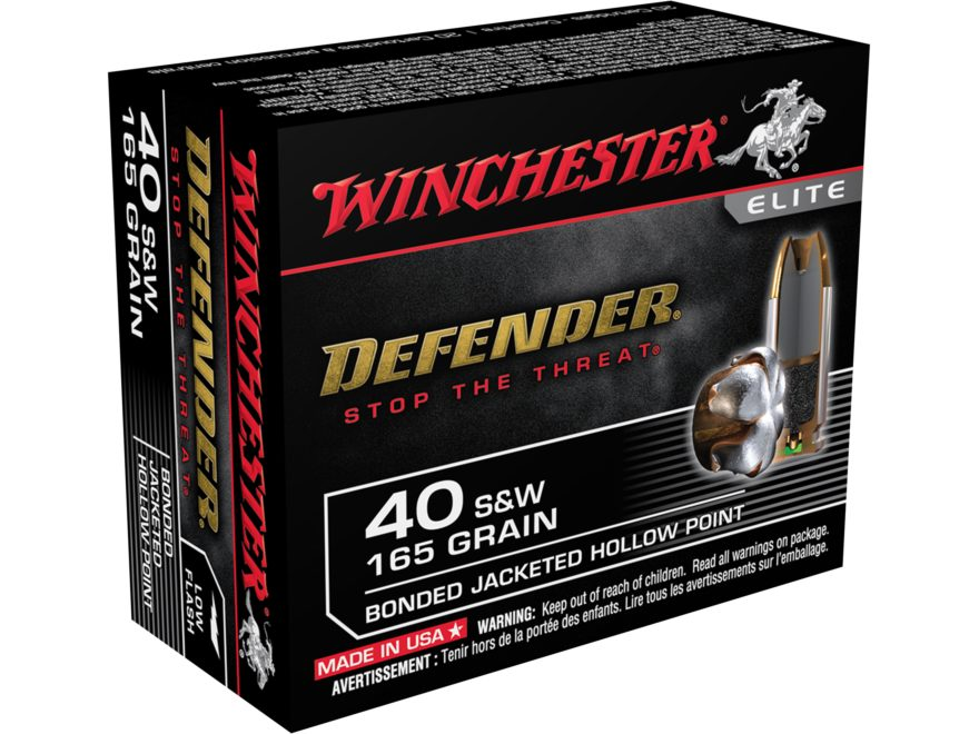 Winchester PDX1 Defender Ammunition 40 S&W 165 Grain Bonded Jacketed Hollow Point