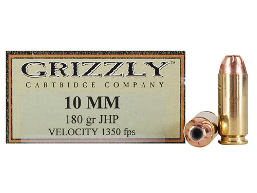 Grizzly Ammunition 10mm Auto 180 Grain Jacketed Hollow Point Box of 20