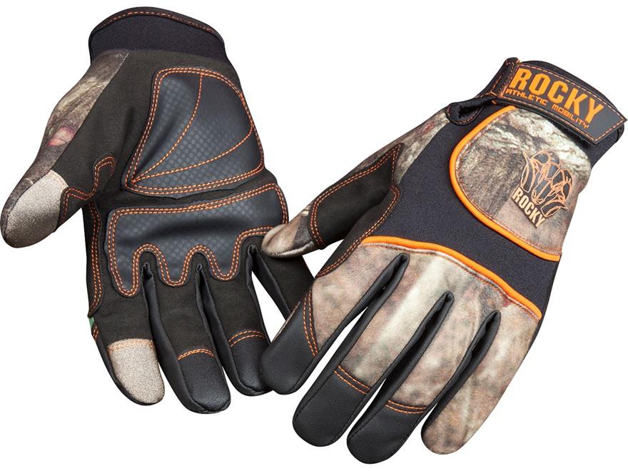 Rocky Athletic Mobility Level 3 Touchscreen Stretch Back Gloves Polyester Mossy Oak Bre...
