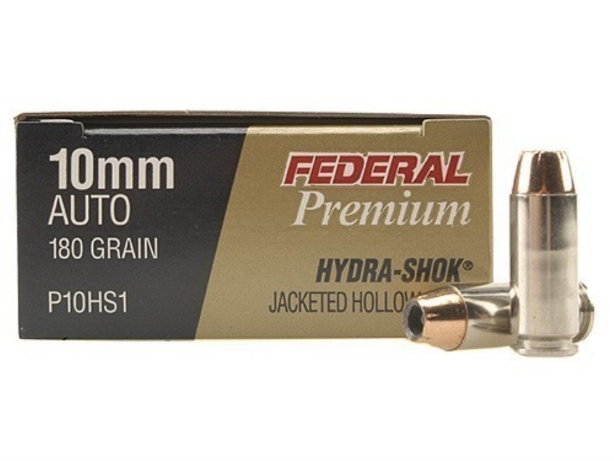 Federal Premium Personal Defense Ammunition 10mm Auto 180 Grain Hydra-Shok Jacketed Hol...