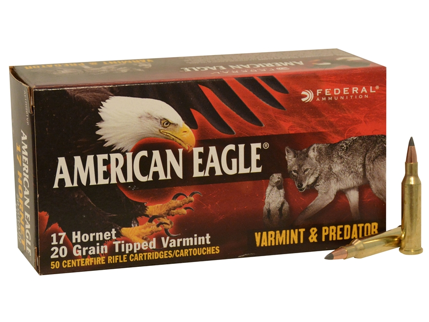 Federal American Eagle Ammunition 17 Hornet 20 Grain Tipped Varmint Box of 50
