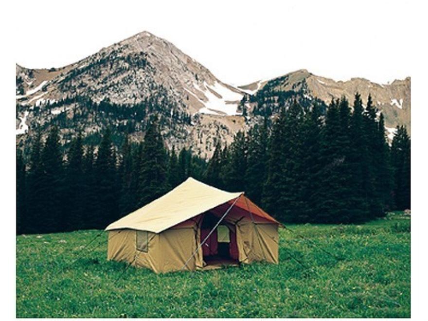 Montana Canvas Spike 3 12' x 12' Tent with Sewn-In Floor, 3 Windows, Screen Door, Alumi...