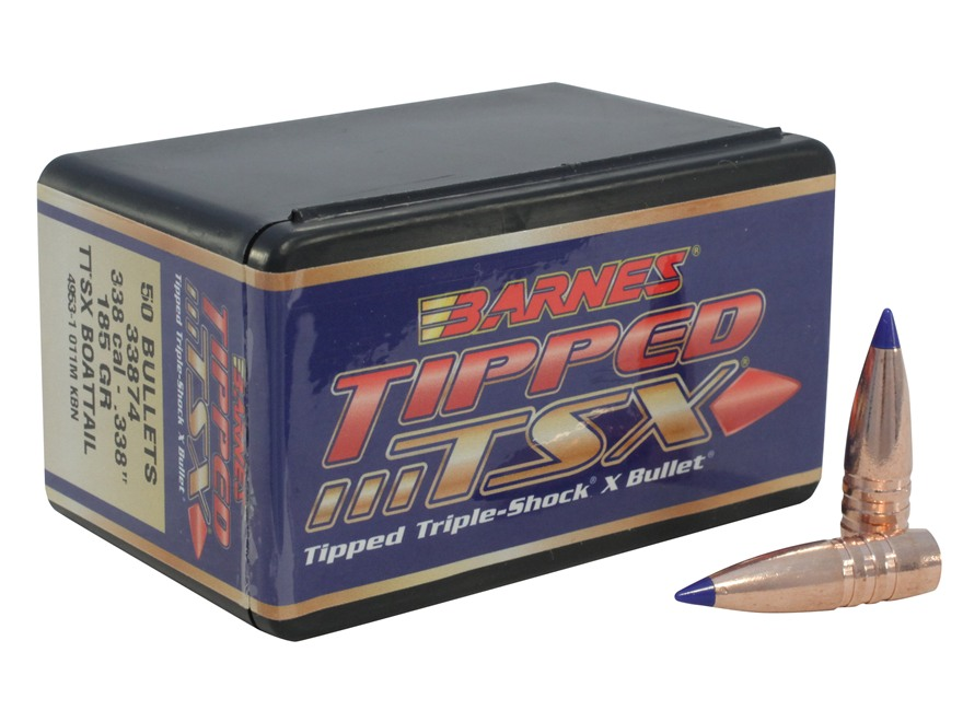 Barnes Tipped Triple-Shock X Bullets 338 Caliber (338 Diameter) 185 Grain Spitzer Boat ...
