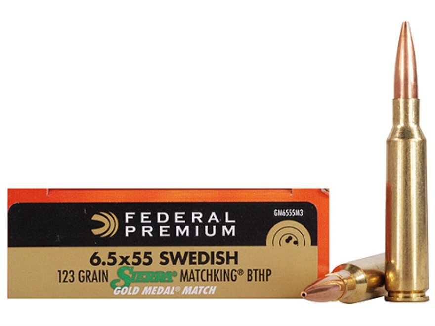 Federal Premium Gold Medal Ammunition 6.5x55mm Swedish Mauser 123 Grain Sierra MatchKin...