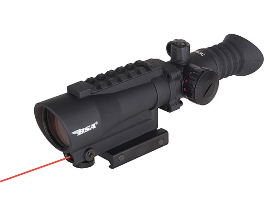 BSA Red Dot Sight 1x 30mm 5 MOA Dot with Picatinny-Style Mount, Laser, and Light Matte