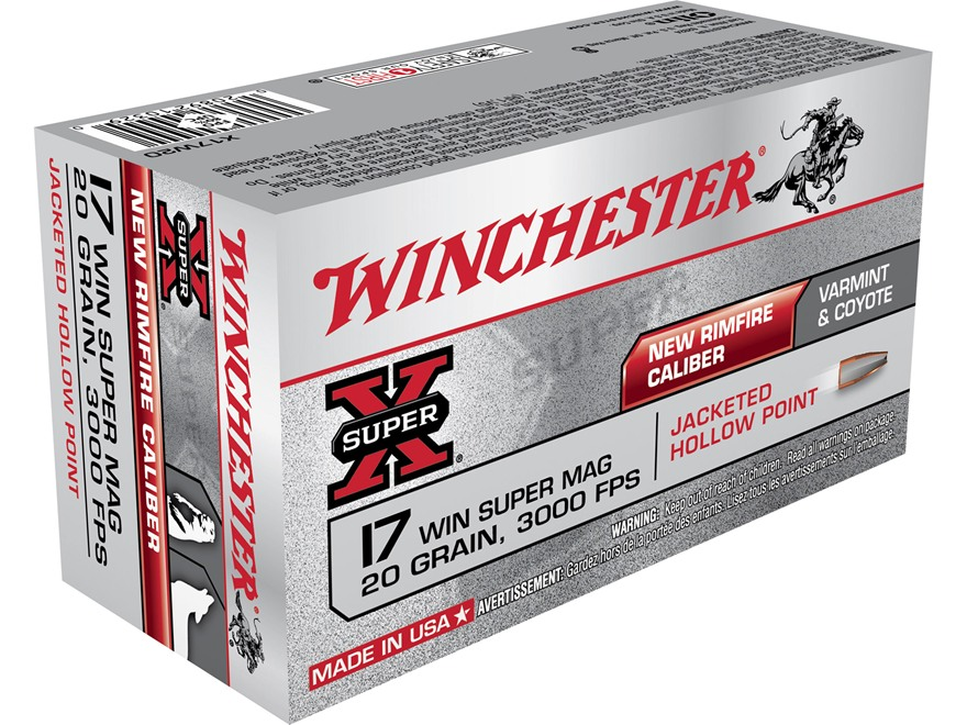 Winchester Super-X Ammunition 17 Winchester Super Magnum 20 Grain Jacketed Hollow Point...