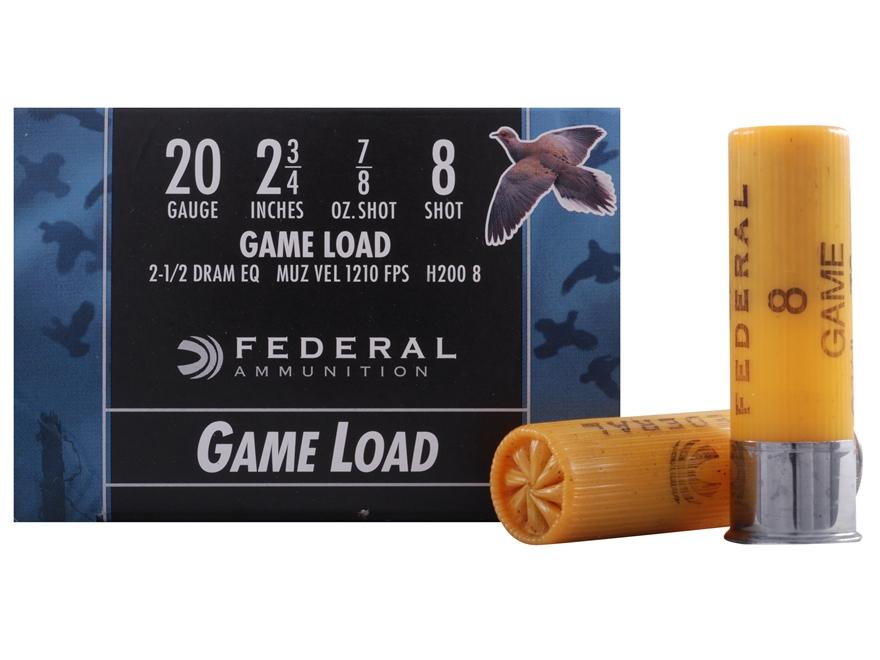 """Federal Game-Shok Game Load Ammunition 20 Gauge 2-3/4"""" 7/8 oz #8 Shot"""