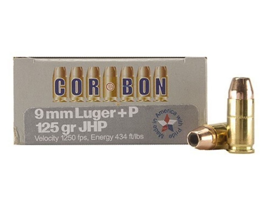 Cor-Bon Self-Defense Ammunition 9mm Luger +P 125 Grain Jacketed Hollow Point Box of 20